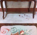 8-Tavolino dipinto con decorazione floreale, finitura con cera d'api pigmentata (prima e dopo il lavoro)