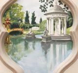 Abitazione privata, Genova Pegli. Veduta del lago grande di Villa Pallavicini dipinto all' interno di una cornice sagomata | Mara Beccaris Genova