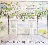 Bozzetto di trompe l'oeil di gazebo con giardino | Mara Beccaris Genova