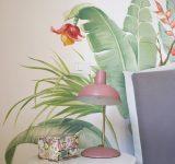 Dettaglio di decorazione dipinta a tema tropicale | Mara Beccaris Genova