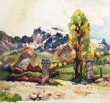 Dipinto ad olio su tela raffigurante panorama alpino | Mara Beccaris Genova