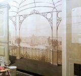 Locale commerciale, Genova - Trompe l'oeil seppiato con veduta antica del Porto di Genova | Mara Beccaris Genova