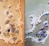 Rifacimento ex novo del soffitto decorato a calce come originale. Particolare prima e dopo l'intervento | Mara Beccaris Genova