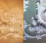 Rifacimento ex novo del soffitto decorato a calce come originale- Particolare prima e dopo l'intervento | Mara Beccaris Genova