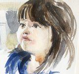 Dipinto ad acquerello su tela raffigurante volto di bimba